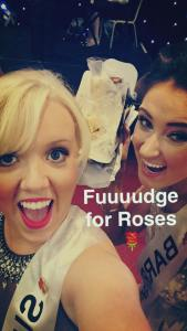 Holly Barry & I having a little down time and some tasty fudge during Selection night rehearsals