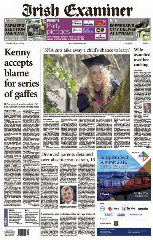 Imagine making the front of the Irish Examiner on your graduation!!